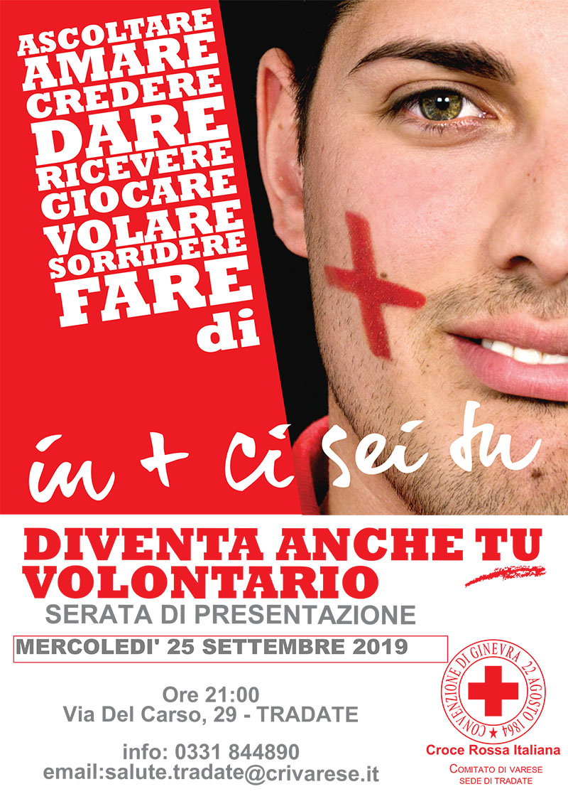 Diventa Volontario della CRI – 19 Settembre 2019 presentazione corso Base a Tradate @ Croce Rossa Italiana Tradate | Tradate | Lombardia | Italia